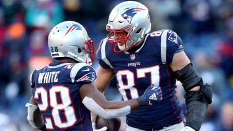 FOXBOROUGH, MASSACHUSETTS - JANUARY 13: James White #28 of the New England Patriots reacts with Rob Gronkowski #87 during the third quarter in the AFC Divisional Playoff Game against the Los Angeles Chargers at Gillette Stadium on January 13, 2019 in Foxborough, Massachusetts. (Photo by Adam Glanzman/Getty Images)