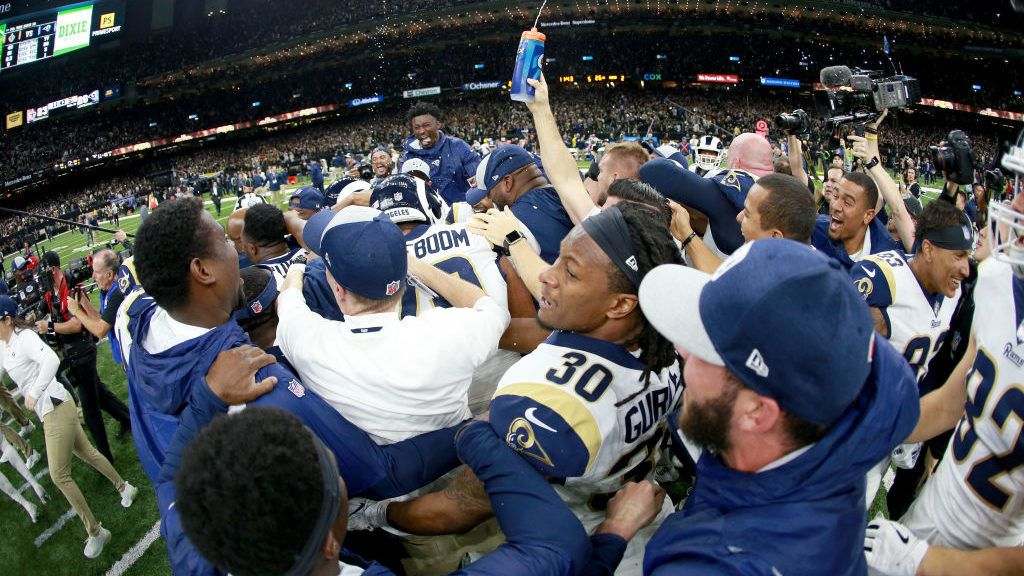 NEW ORLEANS, LOUISIANA - JANUARY 20: Todd Gurley #30 of the Los Angeles Rams celebrates with his teammates after defeating the New Orleans Saints  in the NFC Championship game at the Mercedes-Benz Superdome on January 20, 2019 in New Orleans, Louisiana. The Los Angeles Rams defeated the New Orleans Saints with a score of 26 to 23.   (Photo by Chris Graythen/Getty Images)