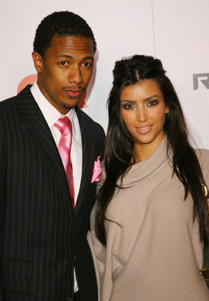 """Nick Cannon and Kim Kardashian during Jay-Z Celebrates """"Kingdom Come"""" Album Release Party - Arrivals at Area in West Hollywood, California, United States. (Photo by Michael Tran/FilmMagic)"""