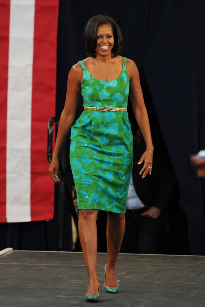 MIAMI LAKES, FL - JULY 10: First Lady Michelle Obama speaks at Barbara Goleman Senior High School during a campaign event on July 10, 2012 in Miami Lakes, Florida. (Photo by Larry Marano/WireImage)