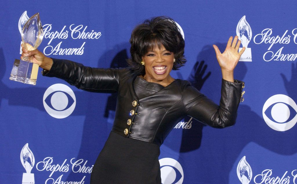 PASADENA, CA - JANUARY 11:  Television Star Oprah Winfrey poses backstage during the 30th Annual People's Choice Awards at the Pasadena Civic Auditorium January 11, 2004 in Pasadena, California.  (Photo by Vince Bucci/Getty Images)