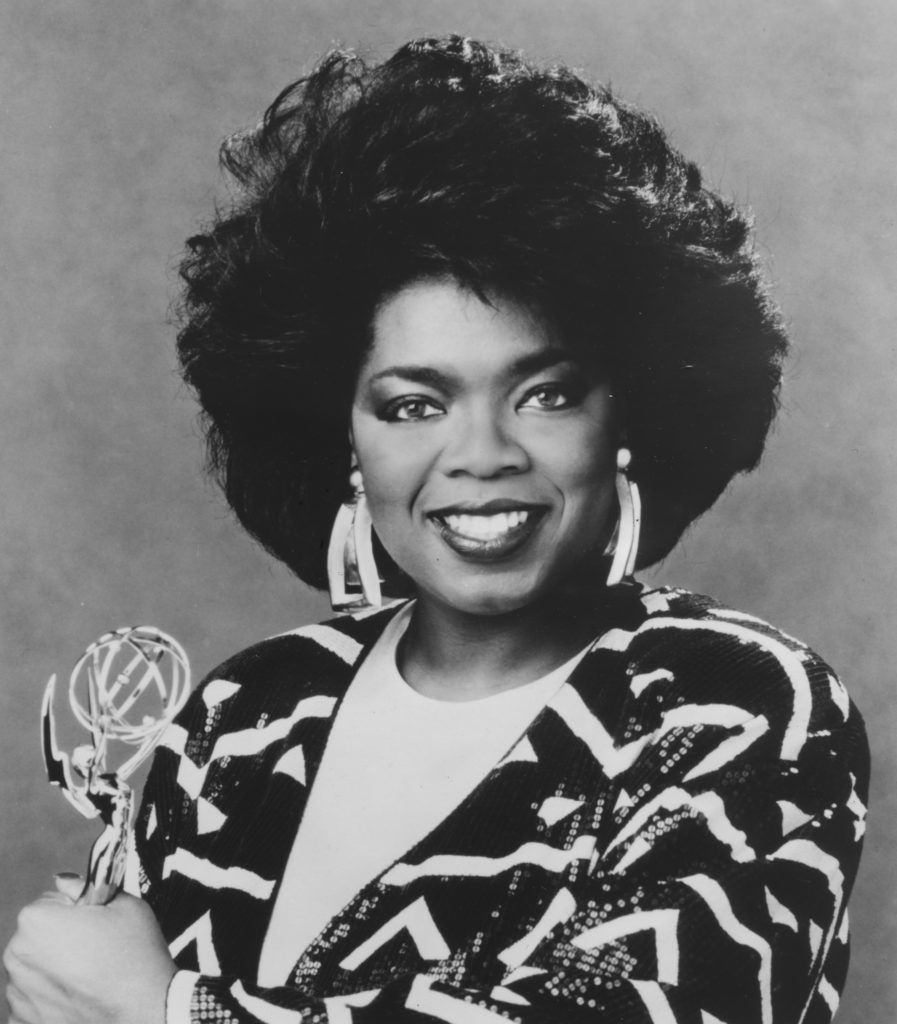 Talk show host Oprah Winfrey holds her Daytime Emmy for Outstanding Talk or Service Show Host, awarded for the Oprah Winfrey Show, 1987. (Photo by Afro American Newspapers/Gado/Getty Images)