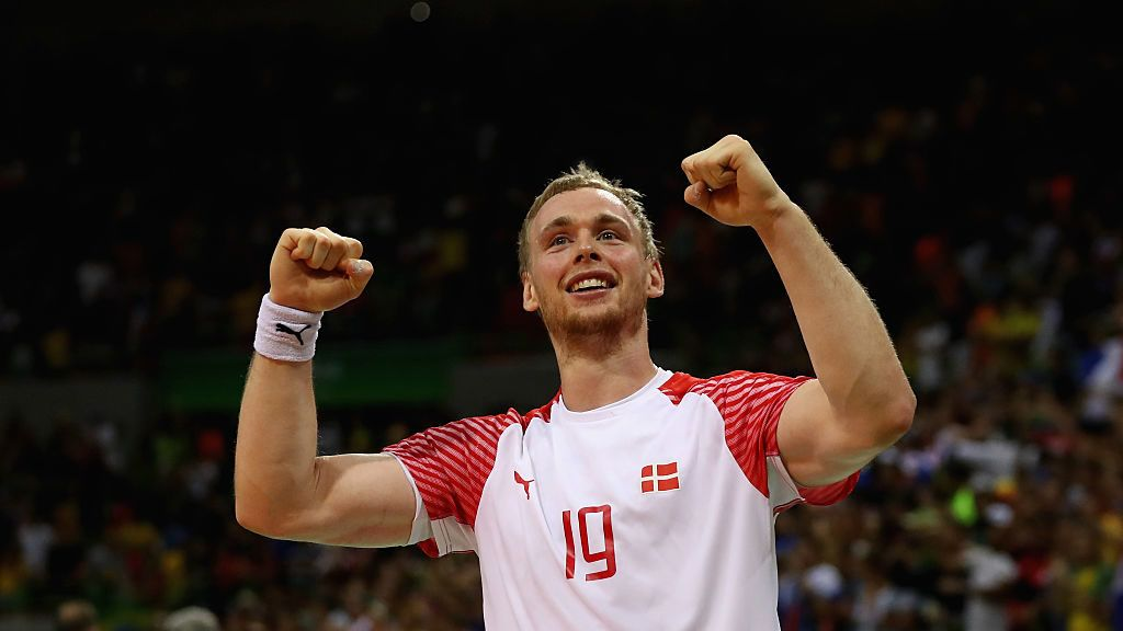 RIO DE JANEIRO, BRAZIL - AUGUST 21:  Rene Toft Hansen of Denmark reacts during the Men's Gold Medal Match between Denmark and France on Day 16 of the Rio 2016 Olympic Games at Future Arena on August 21, 2016 in Rio de Janeiro, Brazil.  (Photo by Sean M. Haffey/Getty Images)