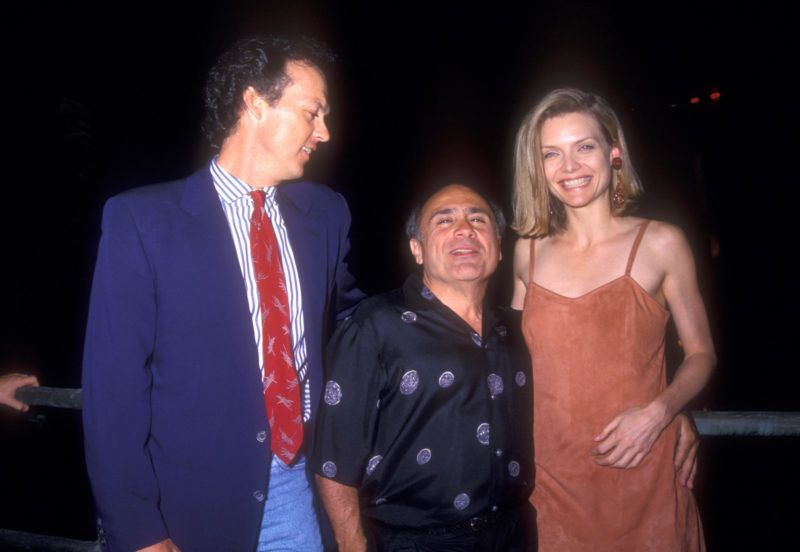 """Michael Keaton, Danny DeVito and Michelle Pfeiffer at World Premiere of """"Batman Returns"""" at Mann's Chinese Theatre in Hollywood, California on June 16, 1992 (Photo by Barry King/WireImage)"""
