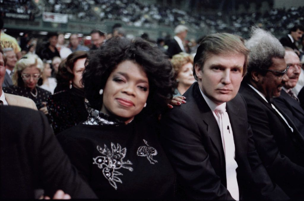 ATLANTIC CITY, NJ - JUNE 27:  Businessman Donald Trump and Oprah Winfrey ringside at Tyson vs Spinks Convention Hall in Atlantic City, New Jersey June 27 1988. (Photo by Jeffrey Asher/ Getty Images)