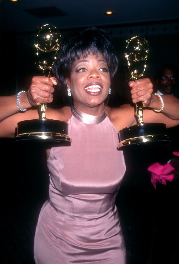 NEW YORK, NY - MAY 19:  American media proprietor and talk show host Oprah Winfrey poses for a portrait before the 22nd Daytime Emmy Awards on May 19, 1995 at the Marquis Hotel in New York, New York.  (Photo by Ron Davis/Getty Images)
