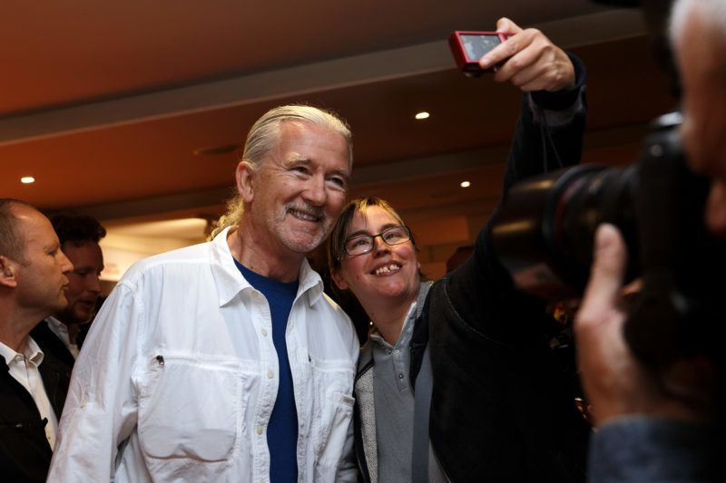 LILLE, FRANCE - MAY 02:  US actor Patrick Duffy (L) poses with fans before Q&A as part of Series Mania Lille Hauts de France festival day 6 photocall on May 2, 2018 in Lille, France.  (Photo by Sylvain Lefevre/Getty Images)
