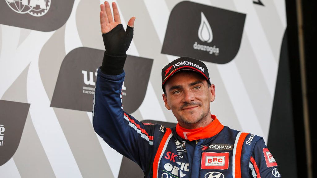 Norbert Michelisz from Hungary in Hyundai i30 N TCR of BRC Racing Team celebrating the third place of Race 3 of FIA WTCR 2018 World Touring Car Cup Race of Portugal, Vila Real, June 24, 2018. (Photo by Bruno Barros / DPI / NurPhoto via Getty Images)