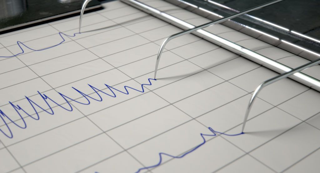 A closeup of lie detector machine needles drawing blue lines on graph paper depicting an interrogation - 3D render