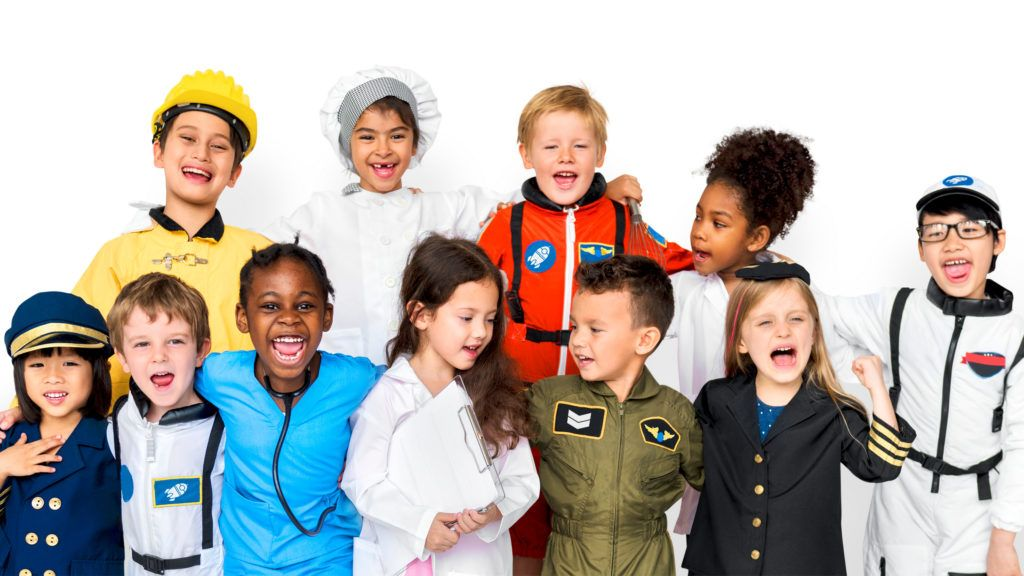 Happiness group of cute and adorable children with dream job