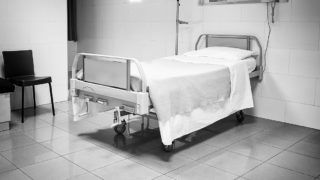 Bed in hospital, medicine and health room
