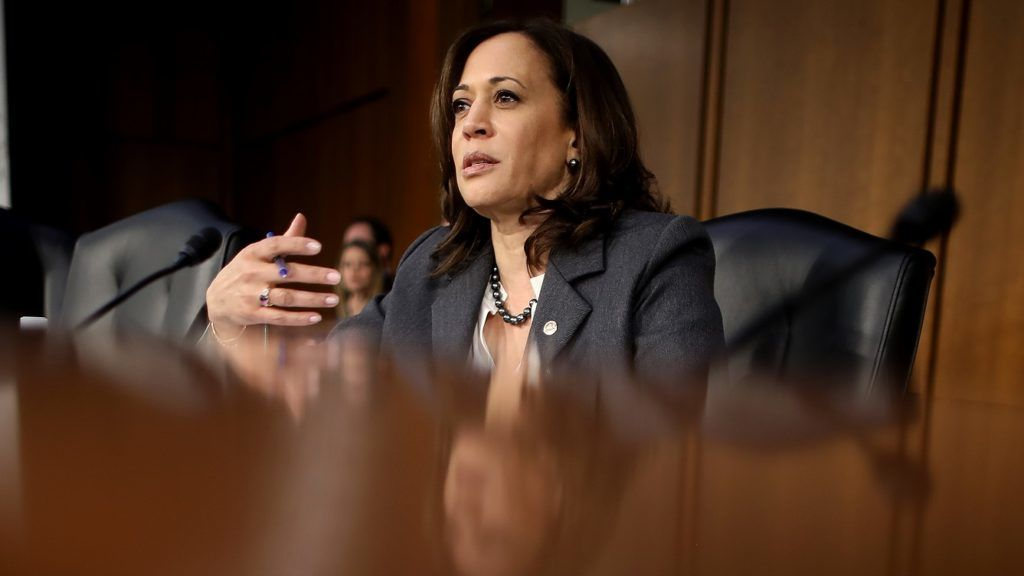 WASHINGTON, DC - JANUARY 16: Senate Judiciary Committee member Sen. Kamala Harris (D-CA) questions witnesses as part of the confirmation process for U.S. Attorney General nominee William Barr January 16, 2019 in Washington, DC. Barr, who previously served as Attorney General under President George H. W. Bush, was confronted about his views on the investigation being conducted by special counsel Robert Mueller.   Chip Somodevilla/Getty Images/AFP