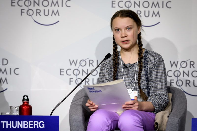 Swedish youth climate activist Greta Thunberg (C) delivers a speech during the closing day of the World Economic Forum (WEF) annual meeting, on January 25, 2019 in Davos, eastern Switzerland. - Swedish 16-year-old Greta Thunberg has inspired a wave of climate protests by schoolchildren around the world after delivering a fiery speech at the UN climate summit in Katowice, Poland last month. (Photo by Fabrice COFFRINI / AFP)