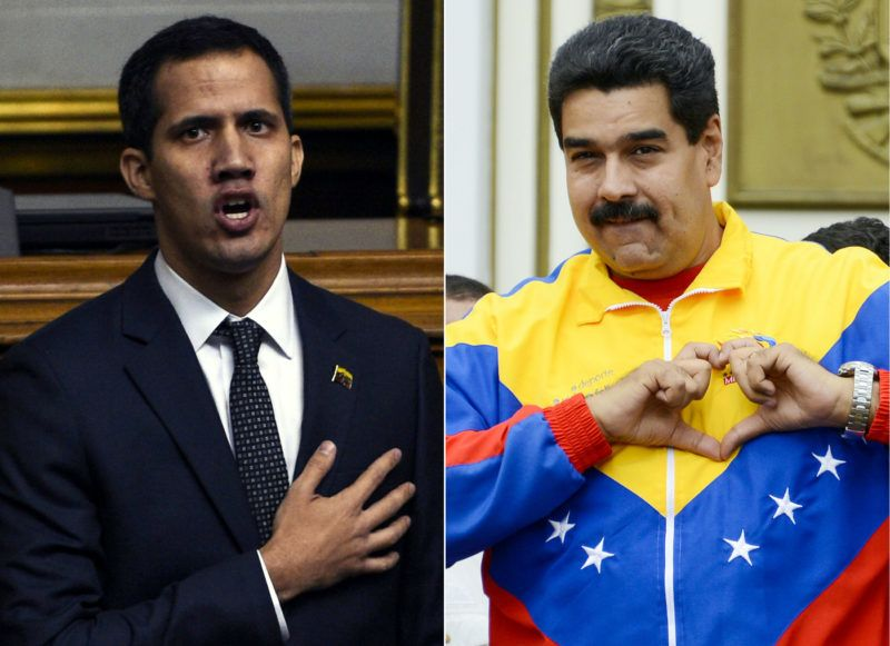 (COMBO) This combination of pictures created on February 13, 2019 shows the new president of Venezuela's National Assembly Juan Guaido (L) gesturing during his inauguration ceremony in Caracas on January 5, 2019, and Venezuela's President Nicolas Maduro (R) gesturing during a meeting with students at Miraflores Presidential Palace in Caracas, on November 21, 2013. - Venezuelan opposition leader Juan Guaido Wednesday announced the appointment of a new board for Citgo, the US-based arm of state oil firm PDVSA that until recently was a major source of revenue for President Nicolas Maduro's embattled regime. (Photos by Federico Parra and Leo RAMIREZ / AFP)