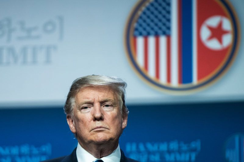 US President Donald Trump attends a press conference following the second US-North Korea summit in Hanoi on February 28, 2019. - The nuclear summit between US President Donald Trump and Kim Jong Un in Hanoi ended without an agreement on February 28, the White House said after the two leaders cut short their discussions. (Photo by Saul LOEB / AFP)