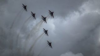 5614471 22.08.2018 MiG-29 jet fighters of Russian aerobatic team Strizhi (Swifts) at the 4th international military technical forum Army 2018. Alexey Filippov / Sputnik