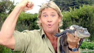 """SAN FRANCISCO - JUNE 26:  (FILE PHOTO) """"The Crocodile Hunter"""", Steve Irwin, poses with a three foot long alligator at the San Francisco Zoo on June 26, 2002 in San Francisco, California. Irwin has died on September 4, 2006 after being stung through the heart by a stingray while diving off Port Douglas in the northern Australia state of Queensland.   (Photo by Justin Sullivan/Getty Images)"""