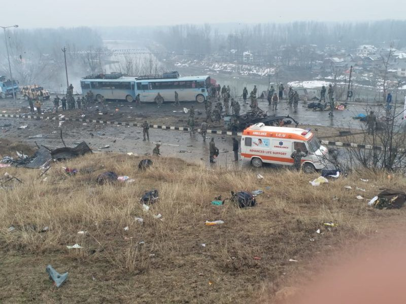 Security forces at the site of the explosion at Lethpora on the Jammu-Srinagar highway, on February 14, 2019 in Srinagar, India. At Least 60 CRPF JAWANS were kiled and many others injured In an improvised explosive device (IED) blast at Lethpora, Police sources say by terrorists attacked and suicide bombers. (Photo by Debajyoti Chakraborty/NurPhoto)