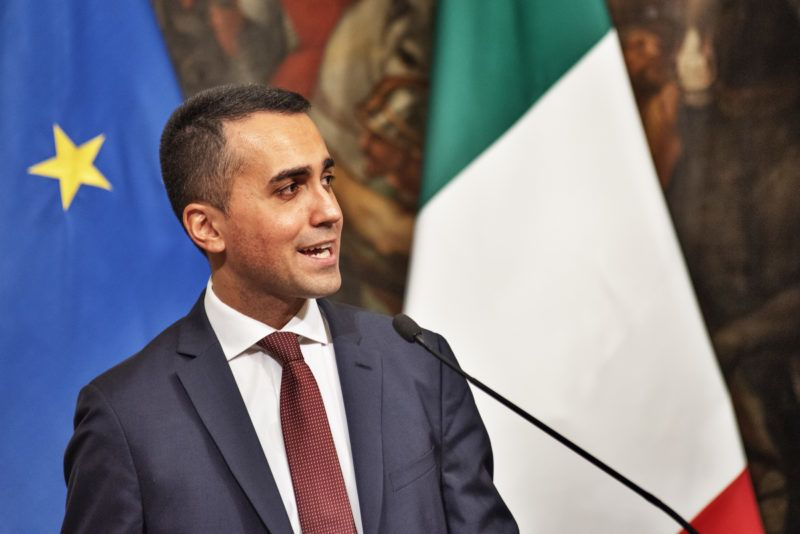 Italy's Deputy Prime Minister and Minister of Economic Development, Labour and Social Policies, Luigi Di Maio, speaks during a press conference at Palazzo Chigi in Rome, Italy, following a Cabinet meeting on citizens' basic income law and 'quota 100' retirement reform in Rome, Italy, on January 17, 2019. (Photo by Michele Spatari/NurPhoto)