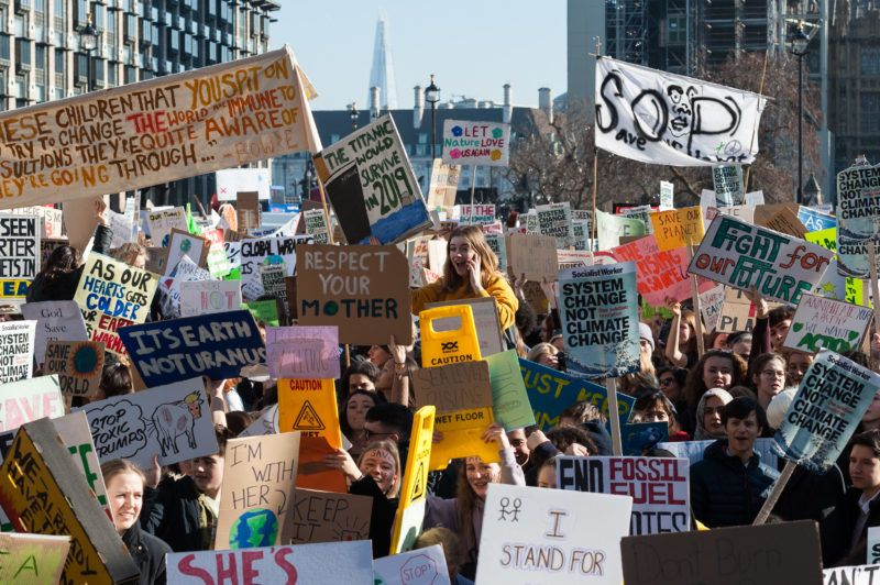 Thousands of young people gather in Parliament Square in central London to protest against the government's lack of action on the climate change and destruction of the environment on 15 February, 2019. The 1st UK-wide youth strike is part of a global 'FridaysForFuture' movement inspired by Swedish teenager Greta Thunberg who protests in front of the country's parliament every Friday since September 2018 and is determined to carry on until the Sweden's climate policies are in line with the Paris agreement. (Photo by WIktor Szymanowicz/NurPhoto)