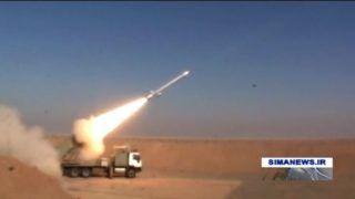 """An image grab taken from a broadcast by Islamic Republic of Iran Broadcasting (IRIB) on February 2, 2019, reportedly shows the testing of a new cruise missile with a range of more than 1,350 kilometres (840 miles) state television reported. - Iran announced the succesful test of a new cruise missile with a range of over 1,350 kilometres on today, state TV reported. (Photo by - / IRIB TV / AFP) / RESTRICTED TO EDITORIAL USE - MANDATORY CREDIT """"AFP PHOTO / HO / IRIB"""" - NO MARKETING NO ADVERTISING CAMPAIGNS - DISTRIBUTED AS A SERVICE TO CLIENTS  / NO RESALE - NO BBC PERSIAN / NO VOA PERSIAN / NO MANOTO TV"""