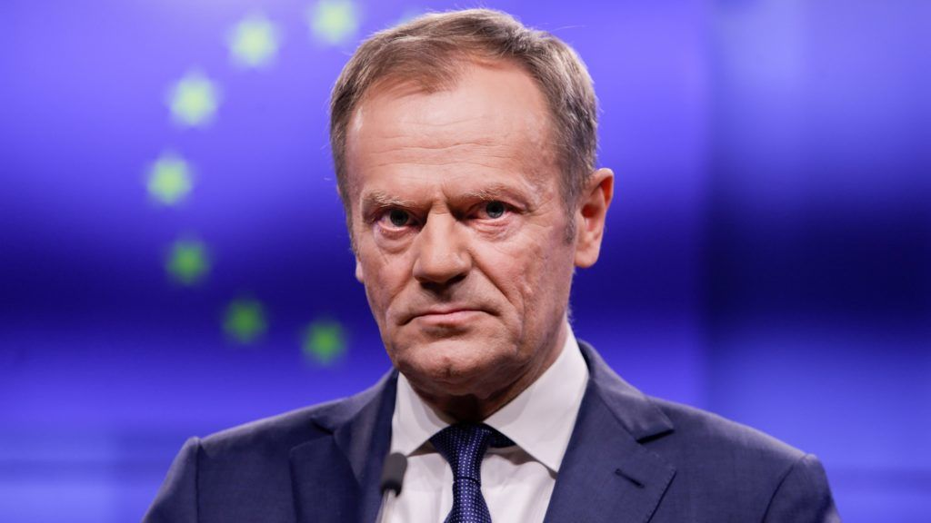 European Council President Donald Tusk makes a statement with Ireland's prime minister following a meeting on February 6, 2019, at the European Council headquarters in Brussels. (Photo by Aris Oikonomou / AFP)