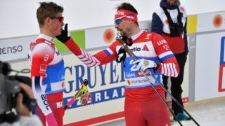 Winner Norway's Johannes Hoesflot Klaebo (L) and Russia's Sergey Ustiugov wait before the final sprint's semi final of the Men's (skating) cross-country event at the FIS Nordic World Ski Championships on February 21, 2019 in Seefeld, Austria. (Photo by JOE KLAMAR / AFP)