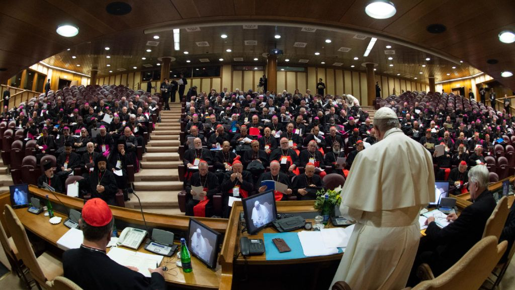 """This photo taken and handout on February 21, 2019 by the Vatican Media shows Pope Francis (R), Cardinals and Bishops attending the opening of a global child protection summit for reflections on the sex abuse crisis within the Catholic Church, on February 21, 2019 at the Vatican. - Pope Francis has set aside three and a half days to convince Catholic bishops to tackle paedophilia in a bid to contain a scandal which hit an already beleaguered Church again in 2018, from Chile to Germany and the United States. (Photo by Handout / VATICAN MEDIA / AFP) / RESTRICTED TO EDITORIAL USE - MANDATORY CREDIT """"AFP PHOTO / VATICAN MEDIA"""" - NO MARKETING NO ADVERTISING CAMPAIGNS - DISTRIBUTED AS A SERVICE TO CLIENTS --- / """"The erroneous byline Vincenzo PINTO appearing in the metadata of this photo by the Vatican Media has been modified in AFP systems in the following manner: Vatican Media instead of Vincenzo PINTO. Please immediately remove the erroneous mention from all your online services and delete it from your servers. If you have been authorized by AFP to distribute it (them) to third parties, please ensure that the same actions are carried out by them. Failure to promptly comply with these instructions will entail liability on your part for any continued or post notification usage. Therefore we thank you very much for all your attention and prompt action. We are sorry for the inconvenience this notification may cause and remain at your disposal for any further information you may require."""""""