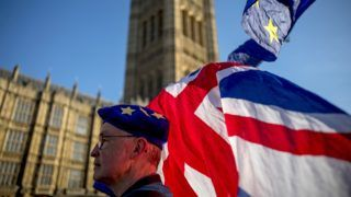 """An anti-Brexit protester wearing a European Union flag cap, flies European and Union flags outside the Houses of Parliament in London on February 21, 2019. - Britain's finance minister Philip Hammond said Thursday there had been """"some movement"""" by the European Union that could lead to a breakthrough in Brexit talks in """"the next few days"""". (Photo by Tolga AKMEN / AFP)"""