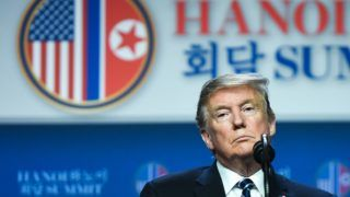 US President Donald Trump listens to a question at a press conference following the second US-North Korea summit in Hanoi on February 28, 2019. - The nuclear summit between US President Donald Trump and Kim Jong Un in Hanoi ended without an agreement on February 28, the White House said after the two leaders cut short their discussions. (Photo by SAUL LOEB / AFP)