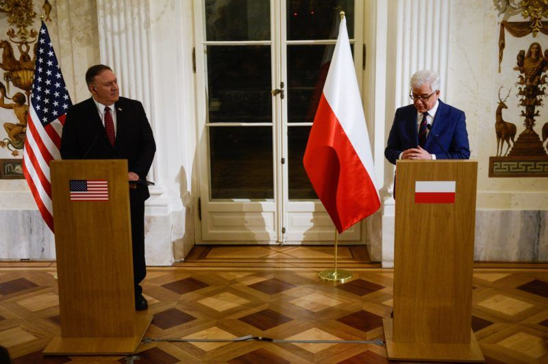 WARSAW, POLAND - FEBRUARY 12 : Polish Foreign Minister Jacek Czaputowicz (R) makes a speech during a press conference with US Secretary of State Mike Pompeo (L) ahead of the two days ministerial meeting devoted to peace and security in the Middle East in Warsaw, Poland on February 12, 2019. Omar Marques / Anadolu Agency