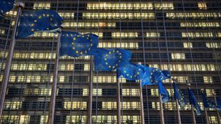 European flags wave in front of the Berlaymont building - European Commission (EC) headquarter - in Brussels, Belgium, on January 14, 2019, the day ahead of crucial U.K. Parliament Brexit vote. The EU is waiting to see the scale of U.K. Prime Minister Theresa May's expected parliamentary defeat on her Brexit deal before considering its response, officials said, with some predicting that she will have to delay Britain's departure from the bloc.   (Photo by Michele Spatari/NurPhoto)