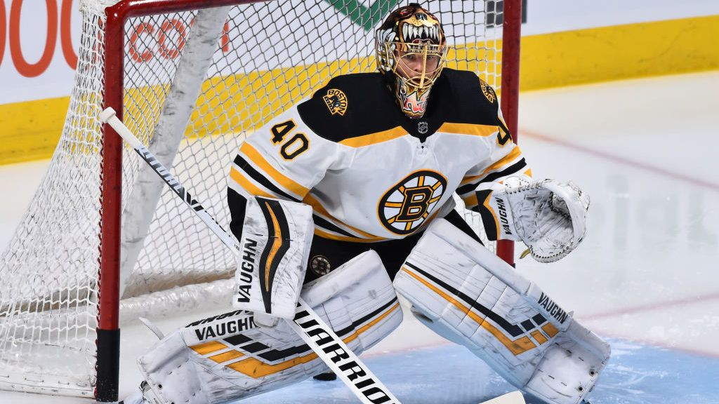 MONTREAL, QC - NOVEMBER 24:  Goaltender Tuukka Rask #40 of the Boston Bruins protects his net during the warm-up against the Montreal Canadiens prior to the NHL game at the Bell Centre on November 24, 2018 in Montreal, Quebec, Canada.  The Boston Bruins defeated the Montreal Canadiens 3-2.  (Photo by Minas Panagiotakis/Getty Images)