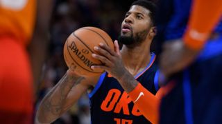 SALT LAKE CITY, UT - DECEMBER 22: Paul George #13 of the Oklahoma City Thunder shoots a free throw in the second half of a NBA game against the Utah Jazz at Vivint Smart Home Arena on December 22, 2018 in Salt Lake City, Utah. NOTE TO USER: User expressly acknowledges and agrees that, by downloading and or using this photograph, User is consenting to the terms and conditions of the Getty Images License Agreement. (Photo by Gene Sweeney Jr./Getty Images)