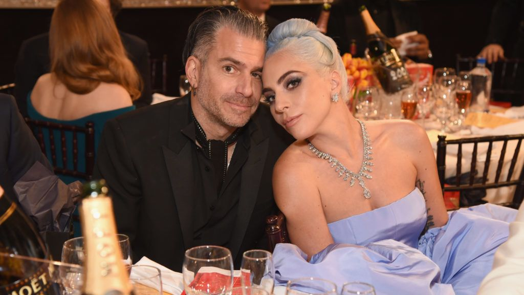 BEVERLY HILLS, CA - JANUARY 06: (L) Christian Carino and Lady Gaga attend Moet & Chandon at The 76th Annual Golden Globe Awards at The Beverly Hilton Hotel on January 6, 2019 in Beverly Hills, California.  (Photo by Michael Kovac/Getty Images for Moet & Chandon)
