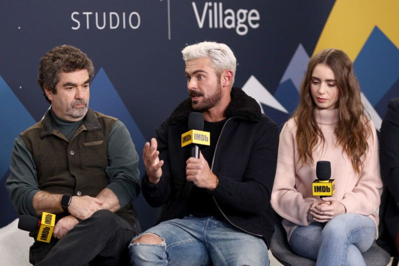 PARK CITY, UT - JANUARY 26:  (L-R) Joe Berlinger, Zac Efron, and Lily Collins of 'Extremely Wicked, Shockingly Evil and Vile' attend The IMDb Studio at Acura Festival Village on location at The 2019 Sundance Film Festival - Day 2  on January 26, 2019 in Park City, Utah.  (Photo by Rich Polk/Getty Images for IMDb)