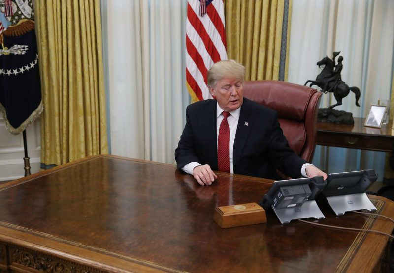 WASHINGTON, DC - JANUARY 31:  U.S. President Donald Trump speaks during a meeting with Chinese Vice Premier Liu He,  in the Oval Office at the White House on January 31, 2019 in Washington, DC. U.S.-China top trade officials have finished two days of face-to-face trade talks to end a months-long trade war between the worldÕs two largest economies.  (Photo by Mark Wilson/Getty Images)
