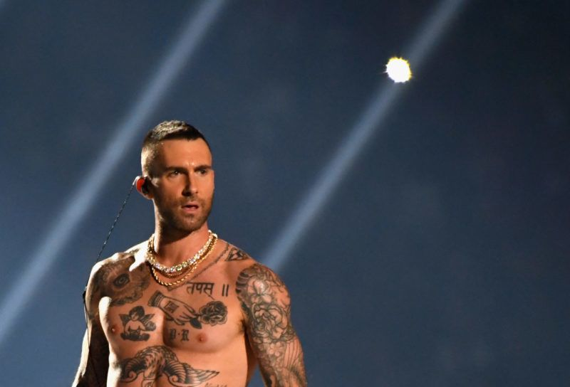 ATLANTA, GA - FEBRUARY 03:  Adam Levine of Maroon 5 performs during the Pepsi Super Bowl LIII Halftime Show at Mercedes-Benz Stadium on February 3, 2019 in Atlanta, Georgia.  (Photo by Kevin Mazur/WireImage)