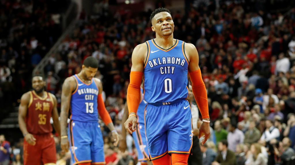 HOUSTON, TX - FEBRUARY 09:  Russell Westbrook #0 of the Oklahoma City Thunder reacts in the fourth quarter against the Houston Rockets at Toyota Center on February 9, 2019 in Houston, Texas.  NOTE TO USER: User expressly acknowledges and agrees that, by downloading and or using this photograph, User is consenting to the terms and conditions of the Getty Images License Agreement.  (Photo by Tim Warner/Getty Images)