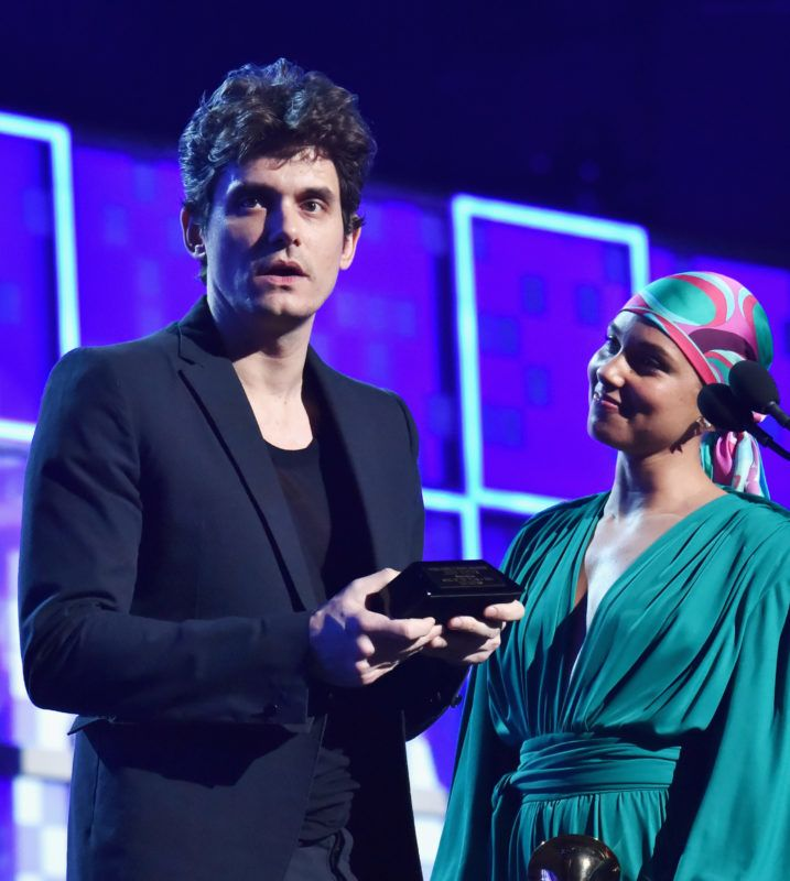 LOS ANGELES, CA - FEBRUARY 10:  John Mayer (L) and Alicia Keys speak onstage during the 61st Annual GRAMMY Awards at Staples Center on February 10, 2019 in Los Angeles, California.  (Photo by Lester Cohen/Getty Images for The Recording Academy)