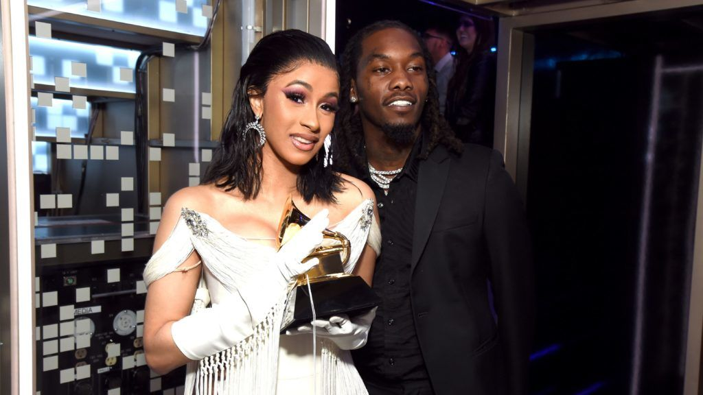 LOS ANGELES, CA - FEBRUARY 10:  Cardi B, winner of Best Rap Album for 'Invasion of Privacy,' and Offset pose backstage during the 61st Annual GRAMMY Awards at Staples Center on February 10, 2019 in Los Angeles, California.  (Photo by Michael Kovac/Getty Images for The Recording Academy)