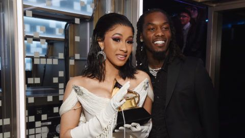 LOS ANGELES, CA - FEBRUARY 10:  Cardi B (L) and Offset backstage during the 61st Annual GRAMMY Awards at Staples Center on February 10, 2019 in Los Angeles, California.  (Photo by Michael Kovac/Getty Images for The Recording Academy)