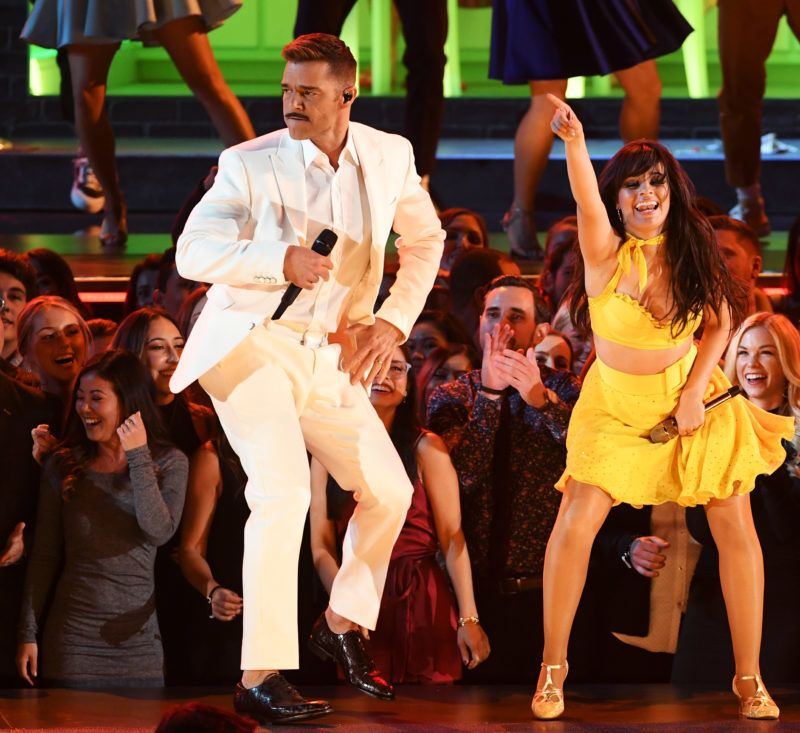 LOS ANGELES, CA - FEBRUARY 10:  (L-R) Ricky Martin and Camila Cabello perform onstage during the 61st Annual GRAMMY Awards at Staples Center on February 10, 2019 in Los Angeles, California.  (Photo by Kevin Winter/Getty Images for The Recording Academy)
