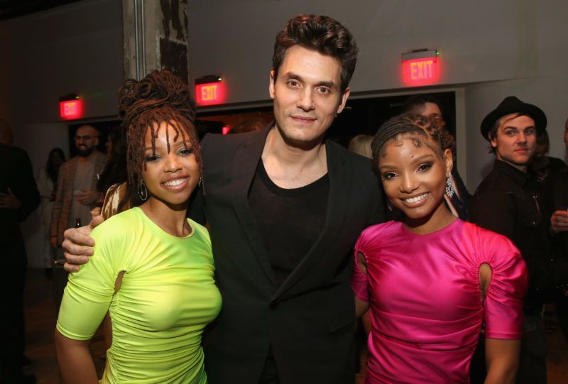 LOS ANGELES, CA - FEBRUARY 10:  (L-R) Chloe Bailey of Chloe X Halle, John Mayer and Halle Bailey of Chloe X Halle attend the Sony Music Entertainment 2019 Post-Grammy Reception at NeueHouse Hollywood on February 10, 2019 in Los Angeles, California.  (Photo by Jesse Grant/Getty Images for SME)