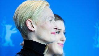 """Tilda Swinton and her daughter Honor Swinton-Byrne  attends the """"The Souvenir"""" Photocall during the 69th Berlinale International Film Festival Berlin at Grand Hyatt Hotel on February 12, 2019 in Berlin, Germany.  (Photo by Manuel Romano/NurPhoto via Getty Images)"""