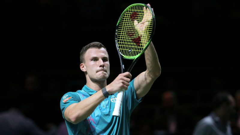 ROTTERDAM, NETHERLANDS - FEBRUARY 14: Marton Fucsovics of Hungary celebrates his victory over Nikoloz Basilashvili of Georgia in straight sets during Day 4 of the ABN AMRO World Tennis Tournament at Rotterdam Ahoy on February 14, 2019 in Rotterdam, Netherlands. (Photo by Jean Catuffe/Getty Images)
