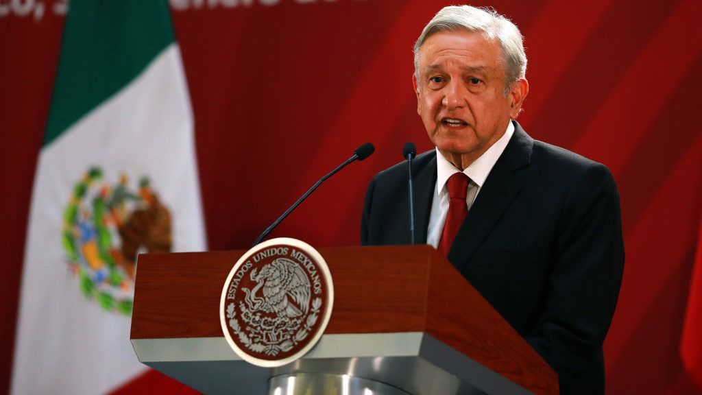 MEXICO CITY, MEXICO - JANUARY 30: Andres Manuel Lopez Obrador President of Mexico speaks during the joint press conference during an Official visit of Pedro Sánchez Pérez-Castejón Prime Minister of Spain and members of his cabinet at Palacio Nacional on January 30, 2019 in Mexico City, Mexico. (Photo by Manuel Velasquez/Getty Images)