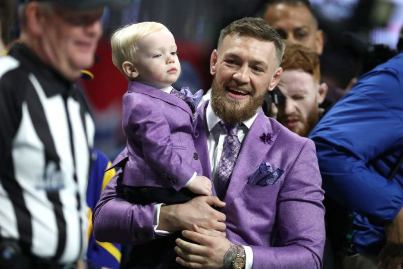 ATLANTA, GEORGIA - FEBRUARY 03: Conor McGregor and Conor McGregor Jr. attend Super Bowl LIII between the New England Patriots and the Los Angeles Rams at Mercedes-Benz Stadium on February 03, 2019 in Atlanta, Georgia. (Photo by Al Bello/Getty Images)