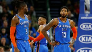 ORLANDO, FLORIDA - JANUARY 29:  Paul George #13 of the Oklahoma City Thunder looks on against the Orlando Magic during the first half at Amway Center on January 29, 2019 in Orlando, Florida. NOTE TO USER: User expressly acknowledges and agrees that, by downloading and or using this photograph, User is consenting to the terms and conditions of the Getty Images License Agreement. (Photo by Michael Reaves/Getty Images)
