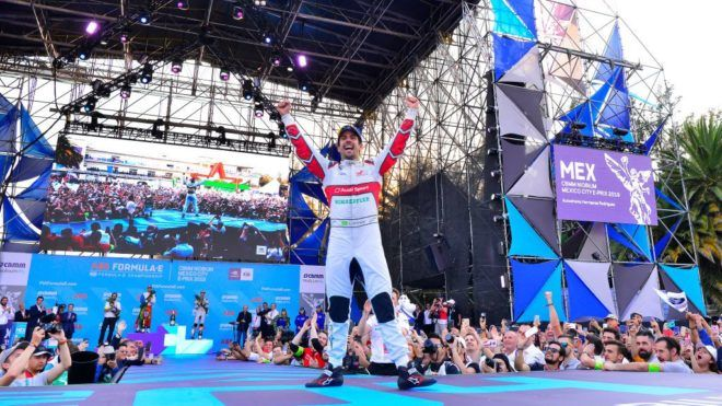 MEXICO CITY, MEXICO - FEBRUARY 16: Lucas Di Grassi of team Audi Sport ABT Schaeffler celebrates after his victory during the award of 2019 Mexico City E-Prix on February 16, 2019 in Mexico City, Mexico. (Photo by Jaime Lopez/Jam Media/Getty Images)